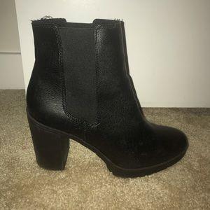 Black faux leather platform booties size 8